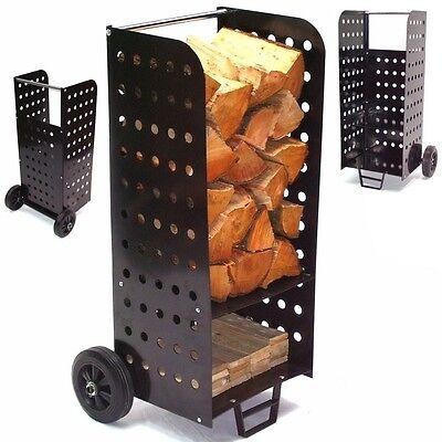 UPP Holz Caddy Wagen Kaminholzwagen Brennholzkarre Holzkorb Holzwagen Sackkarre
