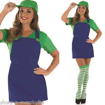 Damen Sexy Luigi Mario Cartoon Spiel 80er Jahre 90er Kostüm Kleid Outfit UK (Sexy Mario Und Luigi Kostüm)