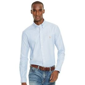 Ralph Lauren slim-fit blue stretch oxford shirt (Large)