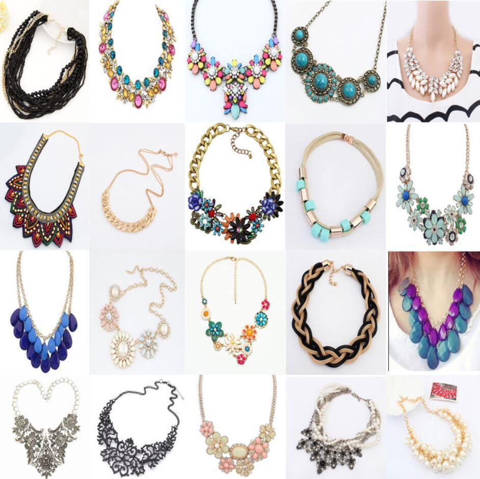 Necklace - Fashion Charm Chunky Crystal Statement Bib Chain Choker Pendant Necklace Jewelry