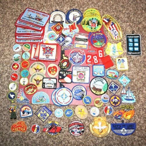 Lot of 167 Boy Scout Patches Pins Etc Related BSA Rare Collectible States