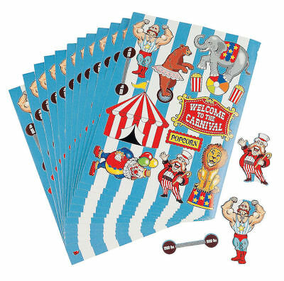 Circus Party Favors (12 Carnival Sticker Sheets Circus Birthday Party Favors Prizes Clown)