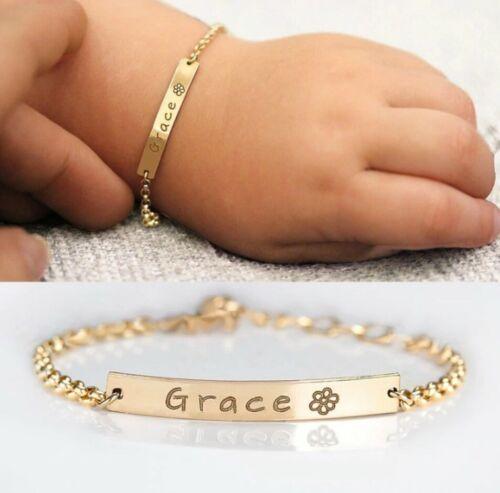Custom Baby Name Bracelet Adjustable Stainless Steel Toddler Child Gift Girl Boy