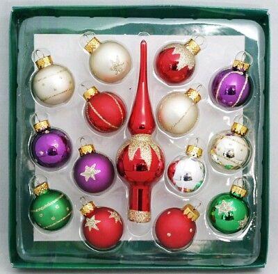Red Tree Topper Mini Ornament Set 15 Gold Purple Green Ball Finial Glass 1.25