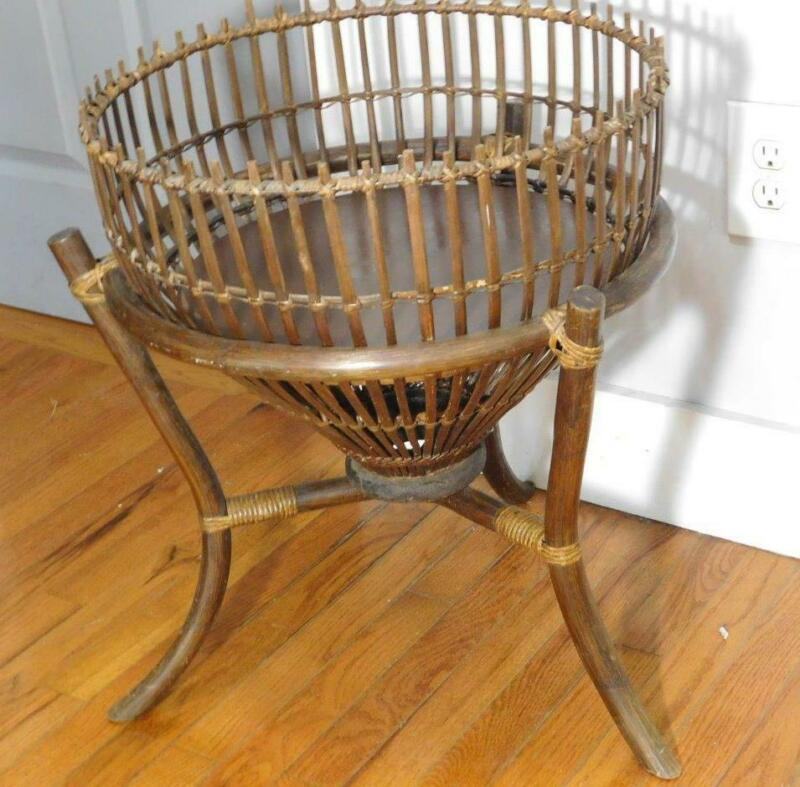 Vintage Bamboo Rattan Wood  Fern Plant Stand 23