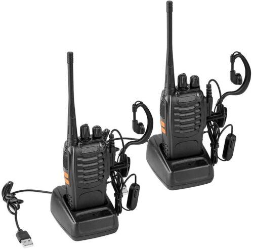 2Pcs Two-way Radio Walkie Talkie, Earpiece, FRS License-Free