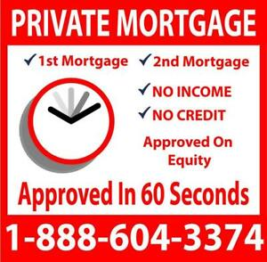 Private Lender Private Mortgage - Approved With Equity or Down Payment - Call 1-866-604-3374