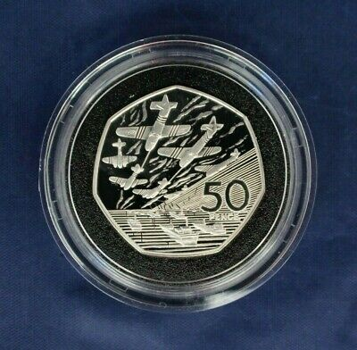 """1994 Silver Piedfort Proof 50p coin """"D-Day"""" in Capsule with COA    (AF5/5)"""