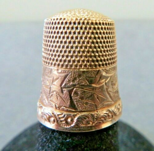 Antique 14K Solid Gold Thimble w/ Engraved Details Size 8/ 2.96 Gram