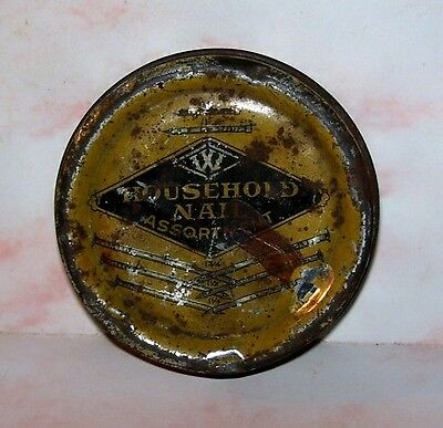 """Vintage Very Old Household Nail Assorment Tin Container """"Nice And Rustic"""""""