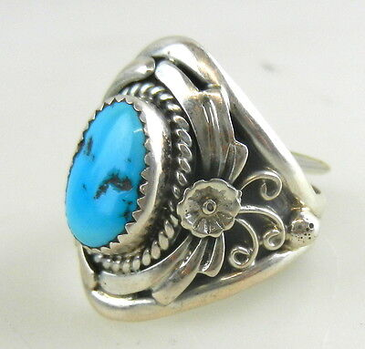 Sterling Silver .925 Mens TURQUOISE RING size 11.5 ~ Navajo  SC Sharon Cisco TO6
