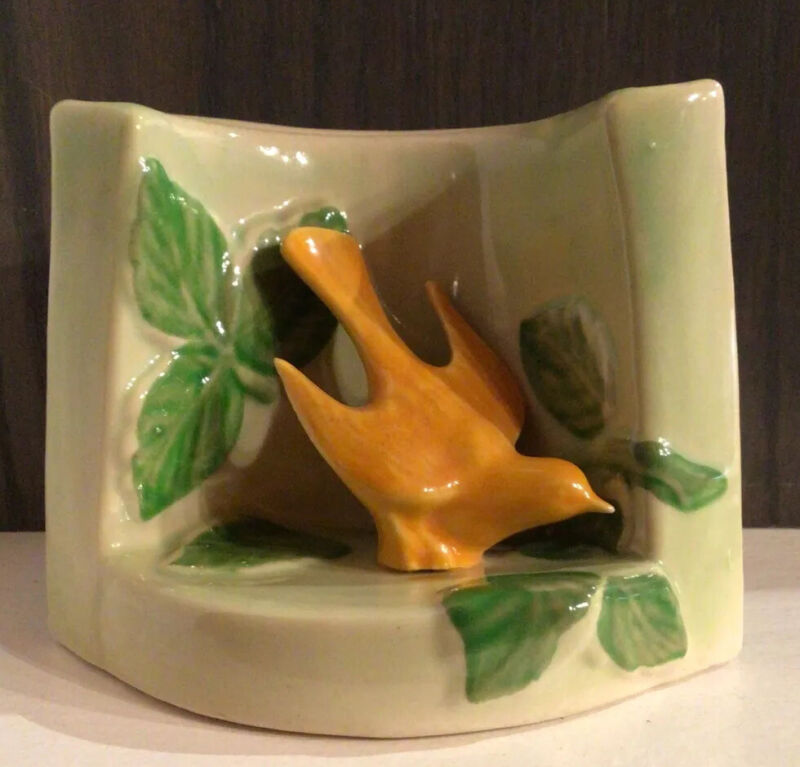 Vintage Mid-Century Green Wall Pocket Vase withYellow Bird