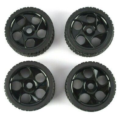 4PCS 1/8 RC Rubber Tires and Wheels Rims Hex 17mm For RC On-Road Buggy Car