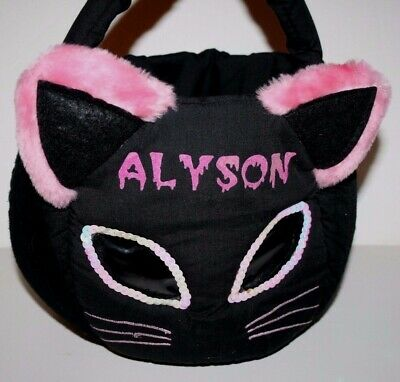 Halloween Treat Names (Halloween Trick or Treat Bag Cat Face with Personalized name)