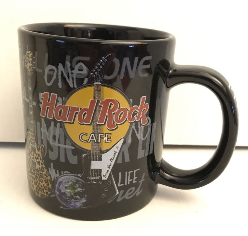 Hard Rock Cafe Pittsburgh Coffee Cup Mug Collectible Guitar Pattern Music Bar