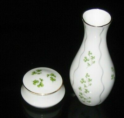Royal Tara Galway Ireland Shamrock Bud Vase and lidded trinket dish Gold Green Shamrock Bud Vase