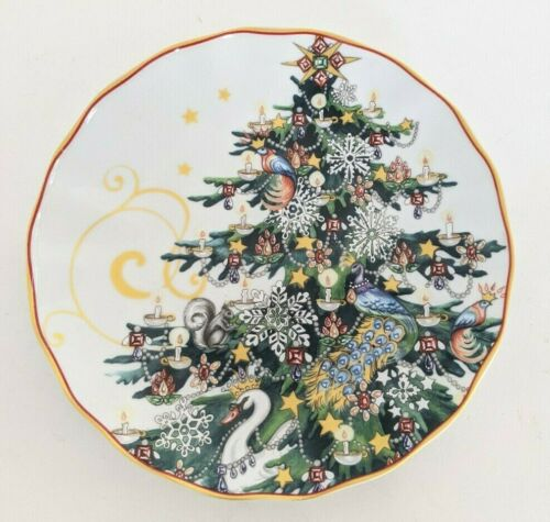 set/4 New Williams Sonoma Twas Night Before Christmas Tree salad plates