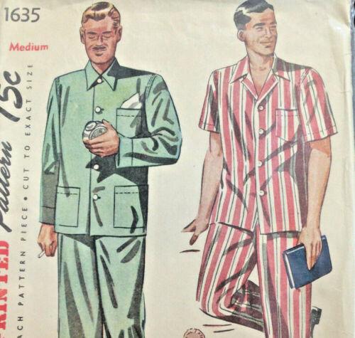 Mens Pajamas Long or Short Size Medium Vtg Sewing Pattern Simplicity 1635