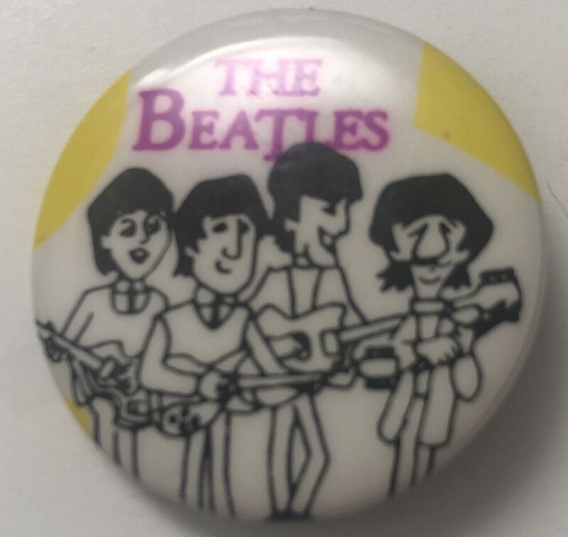 The Beatles cartoon original small Pin Button vintage 60 John Ringo George Paul
