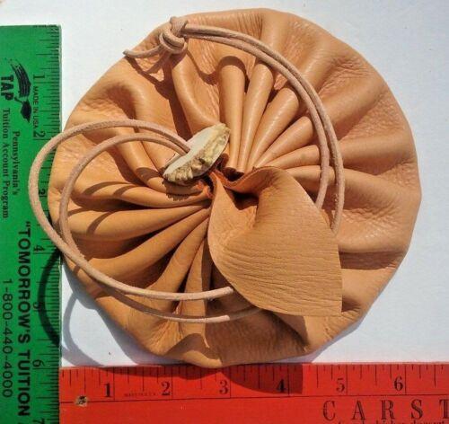 "Leather Drawstring pouch Deerskin Buckskin 6"" Circle Pouch Purse Bag Runes"