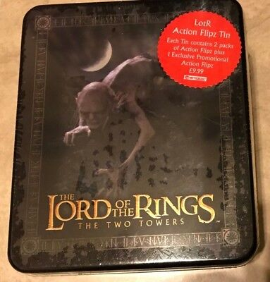 Lord of the Rings Two Towers Action Flipz Smeagel Tin w/ Card Packs NEW sealed