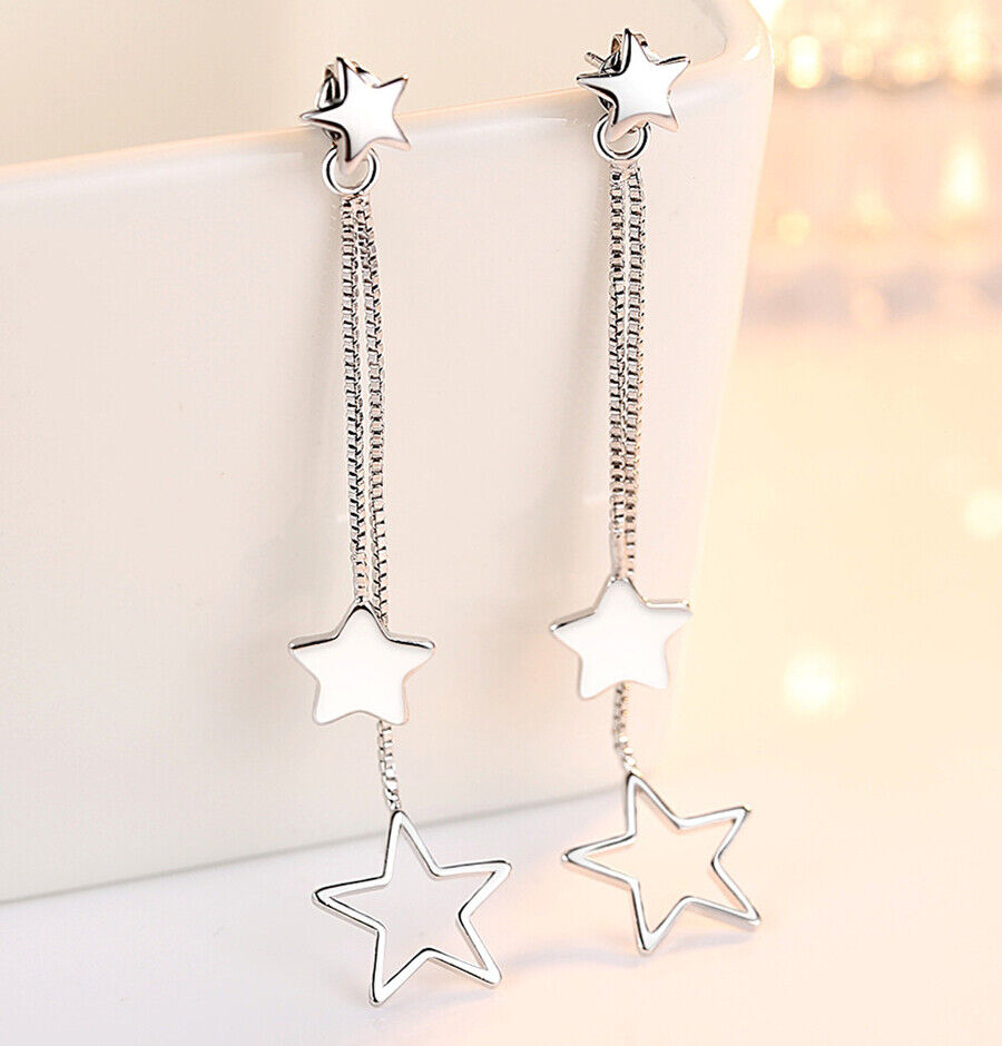Jewellery - Star Drop Long Tassel Stud Earrings 925 Sterling Silver Chain Womens Jewellery
