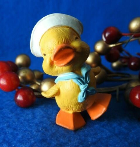 Hallmark Merry Miniature Easter Spring 1986 Duck Sailor Waddling Blue tie