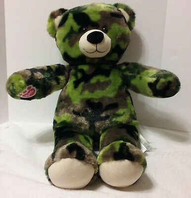 "Build A Bear Camo Military Army Marines Bear Plush 16/"" Camouflage Retired  B"