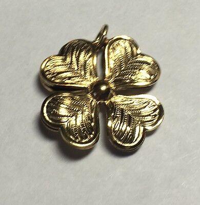 NOS 1960's 12K Gold Filled 3-Dimensional Four Leaf Heart Clover (12k Gold Filled Four)