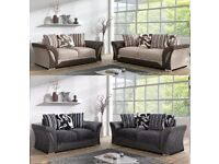 WOW OFFER! BRAND NEW Shannon 3 and 2 Seater Sofa in Black/Grey Or Brown/Beige Or Corner Sofa -
