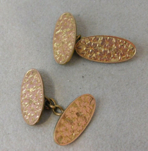 Vintage AJC Gold Filled Floral Embossed Flexible Chain Cuff Links 5g 79