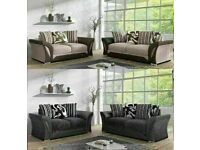 CASH ON DELIVERY ⚡ SHANNON SOFA- BRAND NEW FABRIC & FAUX LEATHER SHANNON CORNER | 3 2 SEATER GREY