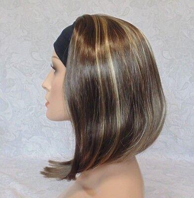Short Straight Silky Brown Highlighted Bob Headband Wig - 9297 - Headband Wigs Short