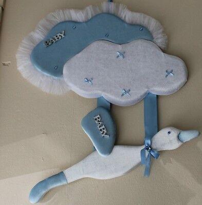 Tür Wand Zimmer Dekoration Baby Samt Storch mit Korb Neu