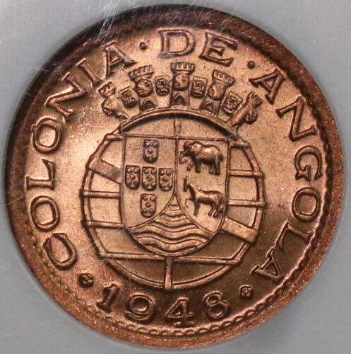 1948 NGC MS 66 RED Angola 10 Centavos Portugal Colony Coin POP 2/0  (18092307C)