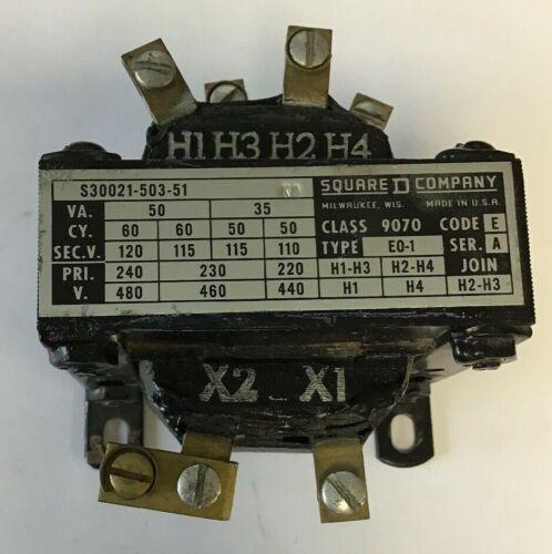 SQUARE D S30021-503-51  9070 CODE E SER.A EO-1 60/50CY 480V VA50/35 TRANSFORMER