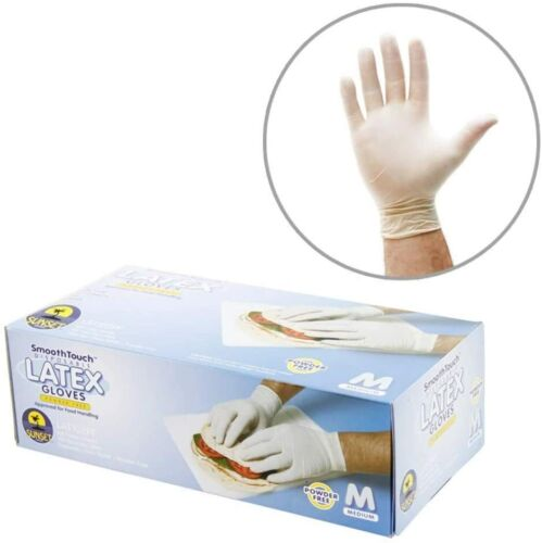 Disposable Latex Gloves, Powdered, Smooth Touch Non-Sterile [100PCS/Pack]