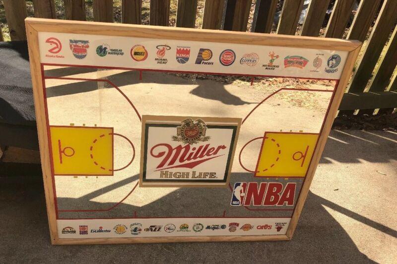 RARE Vintage MILLER HIGH LIFE NBA TEAMS Beer Mirror Sign-Man Cave Bar Pub