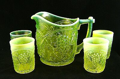 RARE SET!!  Canary Vaseline   ** PALM BEACH **  WATER PITCHER & TUMBLERS!!