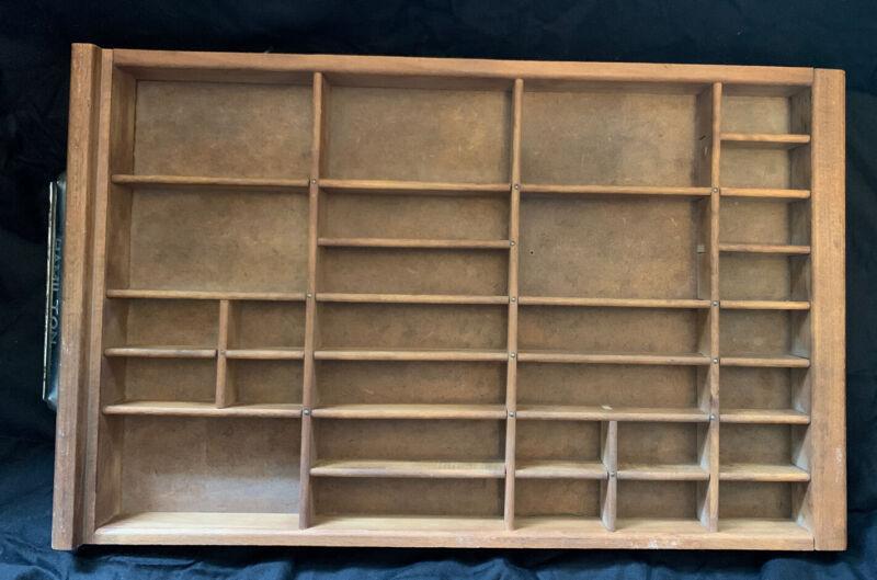 Vintage Hamilton Printer Type Set Drawer Wood Cabinet Tray Display Shadow Box