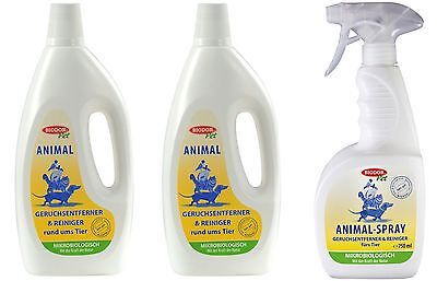 2x Biodor® Pet Animal 1000ml+Biodor® Pet Animal-Spray 750ml (zum Wiederbefüllen)