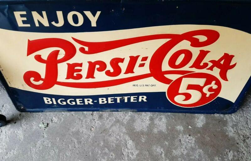 "Enjoy Pepsi Cola Double Dot ""Bigger-Better"" Embossed Self-Framed Tin Sign. 5cent"