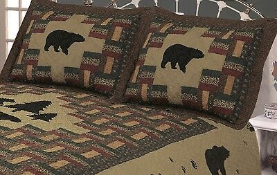 APPALACHIAN TRAIL BLACK BEAR 20x26 STANDARD SHAM : LODGE CABIN PILLOW -