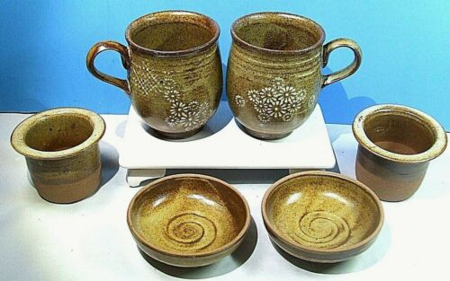 6 Pc Korean Studio Pottery Tea Infuser Cup Lid Strainer Set  Original Box