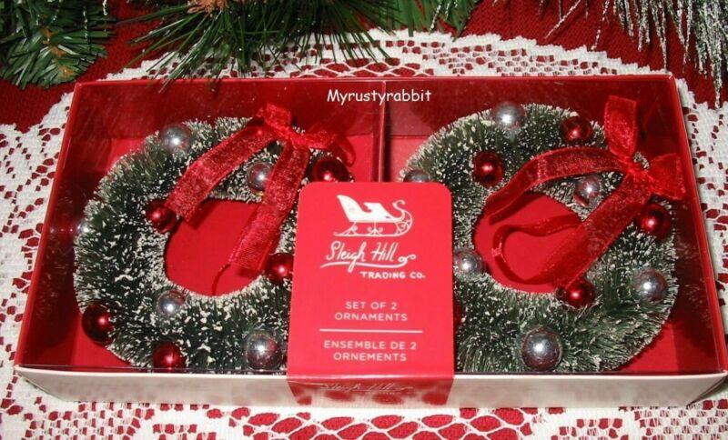 Bottlebrush Wreath Ornaments - Set of 2 - Sleigh Hill Trading - Boxed New
