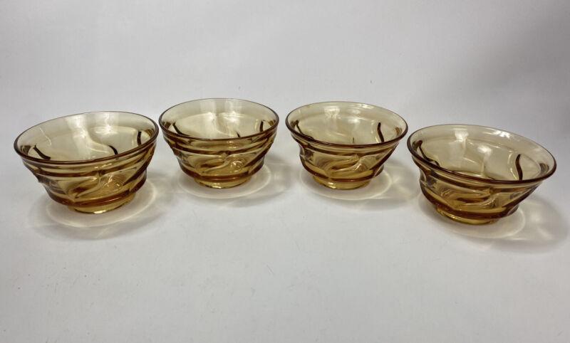 """FOSTORIA GLASS CO. JAMESTOWN AMBER 4-1/2"""" DIAMETER DESSERT or FRUIT BOWLS"""