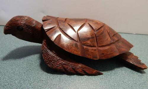 "Wood Sea Turtle Sculpture Hand Carved Ironwood Ocean Art Figure 7-3/4"" Cute!"