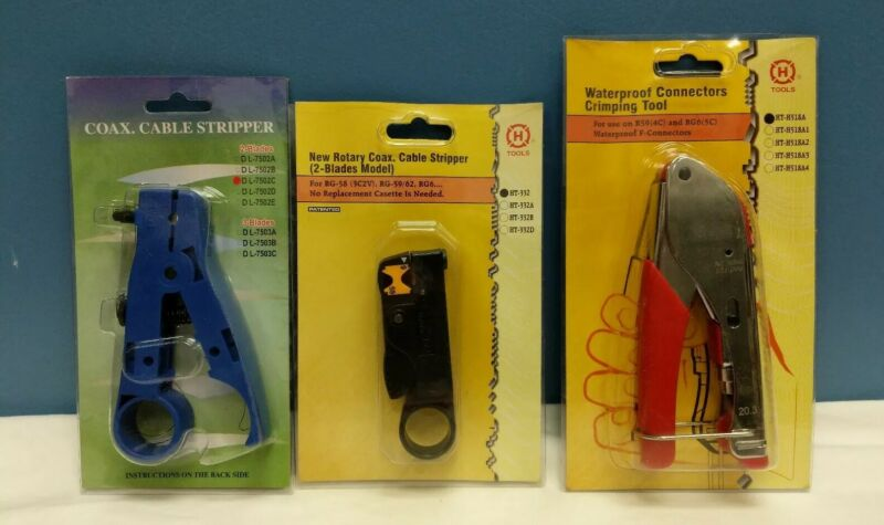 SET OF 3 TV/VIDEO TOOLS - 2 COAX STRIPPERS AND WATERPROOF CONNECTOR CRIMPER