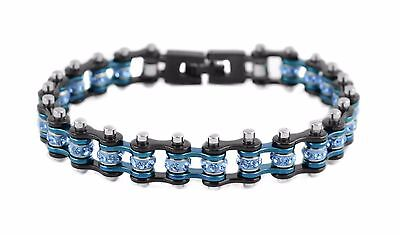 Women's Stainless Steel Black Blue Mini Mini Bike Chain Bracelet USA (Women Mini Stainless Steel Bracelet)