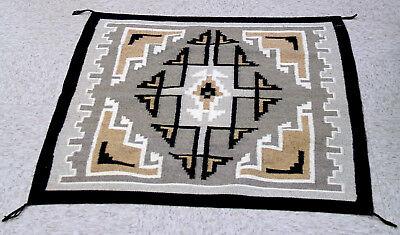 "Mint conditon Navajo Two Gray Hills Rug 40 1/2"" x 35"" c.1970s Fine & tight weave"